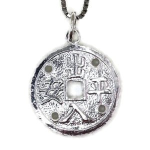 white gold on silver pendant round protection